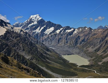 View of Mount Cook. Glacier lake. Beautiful scenery on the way to the Mueller Hut trekking destination.