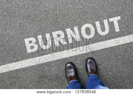 Burnout ill illness stress stressed at work businessman business man concept overworked