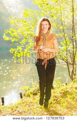 Girl Taking Walk Near River