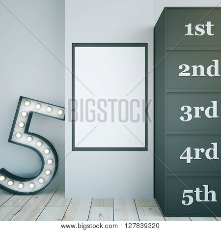 Star dressing room interior with blank picture frame and marquee light number 5. Concrete wall and light wooden floor. Mock up 3D Rendering