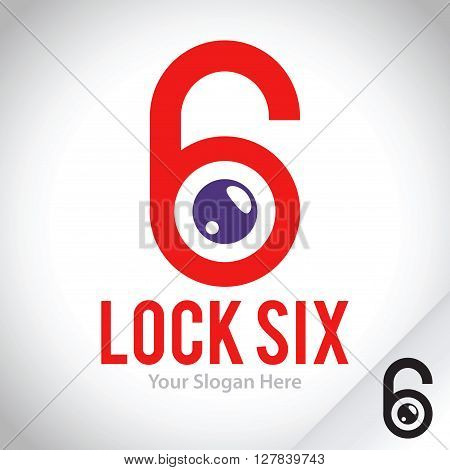 Vector stock logo template padlock and number six security and safety concept
