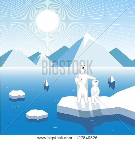 On the image is presented Arctic bear-cub with a female bear on a block of ice, artistic illustration