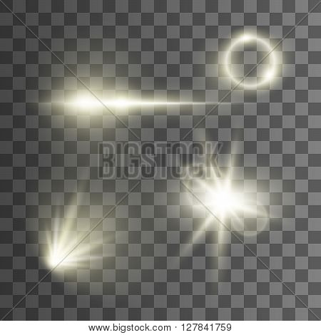 Vector light effects on transparent background. Glowing lights. Rays of light. Vector effects for design. Bright light. Lens.