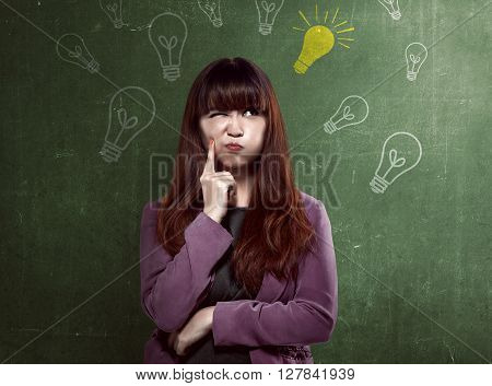 Asian Business Woman Thinking Something