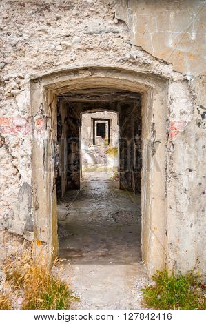 View On Old Stone Passage Way In Ussr Fortress