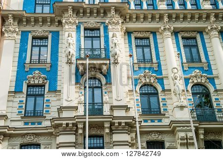 Close-up Of Beautiful Art Deco Building Facade