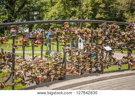 Padlocks On Bridge In Riga