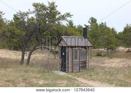 An outhouse in Sleeping Bear Dunes National Lakeshore, Michigan.