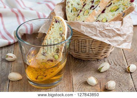 Cranberry and pistachio biscotti with vin santo wine