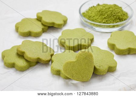 Homemade matcha green tea shortbread cookies, closeup