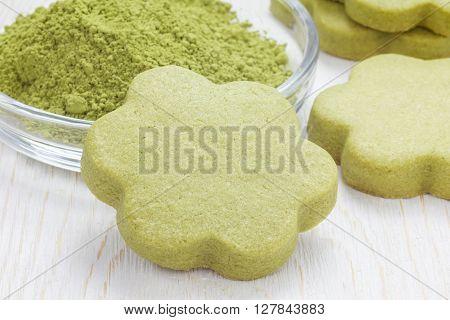 Homemade matcha green tea shortbread cookies close up