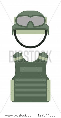Military clothing uniform isolated on a white background army green helmet and body armor vector. Military clothing helmet and body armor. Military clothing army glasses and safety helmet.