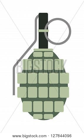 Grenade explosive bomb military and grenade army weapon. Soldier combat grenade gun. Grenade metal armed attack explode. Destruction steel bomb equipment. Hand grenade bomb explosion weapons vector.