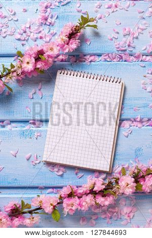Background with elegant pink flowers and empty tag on blue wooden planks. Selective focus is on tag. Place for text.