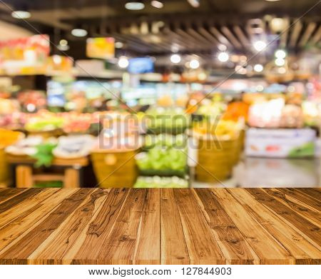 Old Wood Texture With  Blur Supermarket  Background