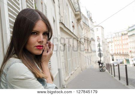 Sexy Woman Fashion Walking Paris With Jean Jacket