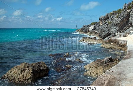 Punta Sur (south point) which is also called Acantilado del Amanecer (Cliffs of the Dawn) on the small Mexican island named Isla Mujeres across from Cancun Mexico