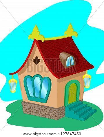 Cartoon fairy house with a tiled roof. Vector illustration