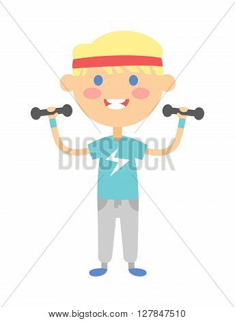 Children gym fitness kid girl with small dumbbells vector. Fitness kid small dumbbells and sport girl. Little fitness kid girl and cartoon fitness kid girl. Sport dumbbells healthy lifestyle fitness.