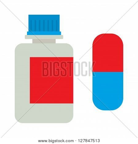 Pills from tablets bottle on the white background health pill pharmacy vector icon. Tablets bottle medical health pill pharmacy and medication vitamin tablets bottle. Tablets bottle treatment.