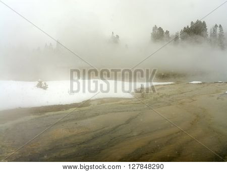 Geothermal pool in winter Yellowstone National Park