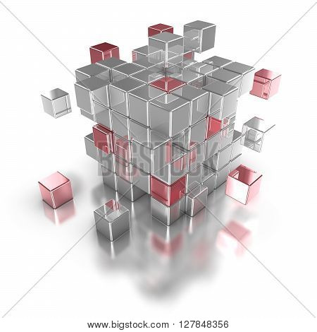 Red cubes flying out of a huge silver cube as a big data concept 3D illustration