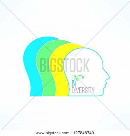 Unity in diversity concept. United people. Opinions and views diversity. Colorful team work design element.
