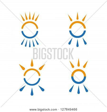 Hot and cold symbol set. Sun and snowflake all season concept logo. Vector