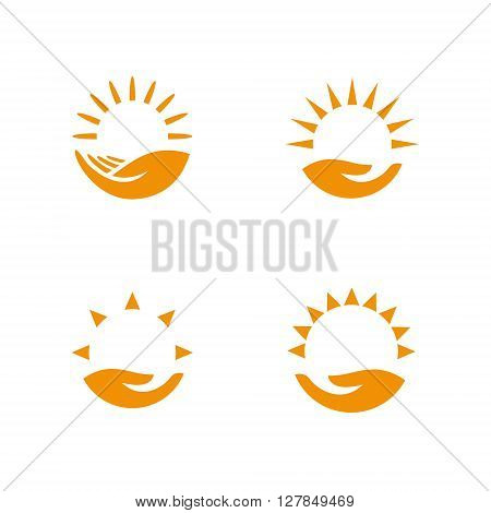 Weather logo set. Hand holding the sun. Vector