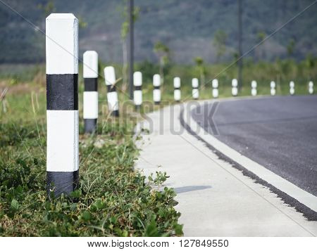 Road side way perspective with sign Road trip travel Outdoor