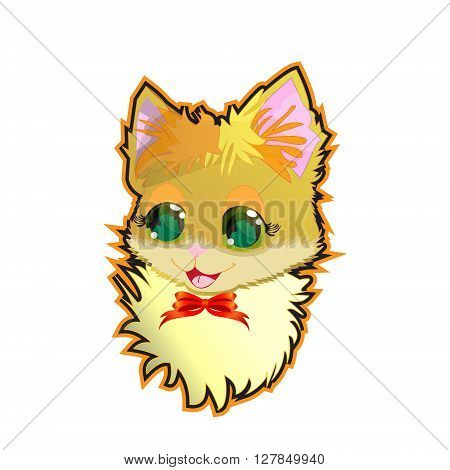 Vector illustration - cute kitty sticker poster card cute kitty design for t-shirt isolated on white background