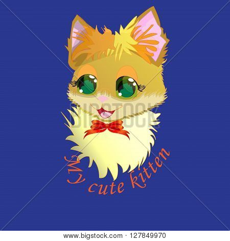Vector illustration - cute kitty sticker poster card cute kitty design for t-shirt isolated on dark blue background with the inscription my cute kitty