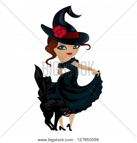 Cute girl witch isolated on white background. Girl witch in a cartoon style. Vector illustration.