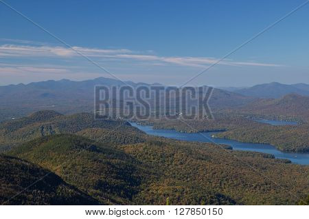 Lake Placid view from top of Whiteface Mountain, New Tork, USA