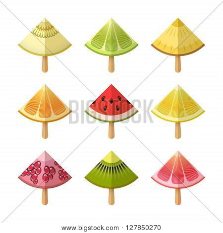 Fruit ice cream icon set. Vector illustration. Eps 10