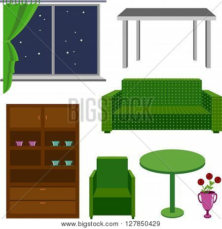 Furniture icons. Classical furniture. A set of furniture on a white background. Vector image. Isolated