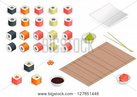 Great set of various different types of sushi isolated on white background. Sushi rolls flat food and japanese seafood sushi rolls. Isometric flat 3d vector illustration