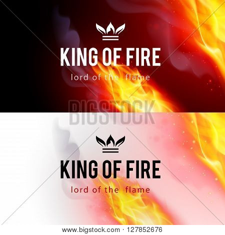Realistic Fire Flames Effect on Black and White Backgrounds