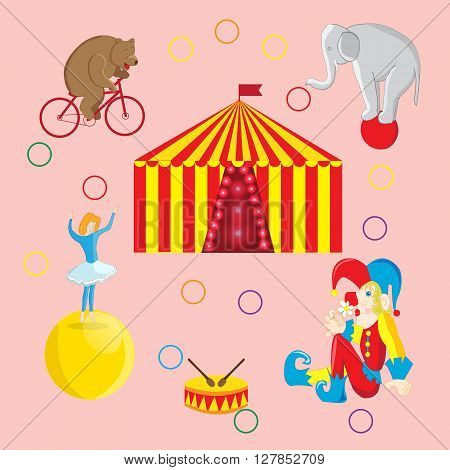 Set of vector illustrations on the theme of a circus bear on a Bicycle tightrope Walker on the ball the clown and elephant circus tent
