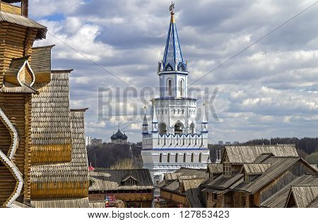 White Tower in the Izmailovo Kremlin Moscow. Replica in a traditional old Russian style.
