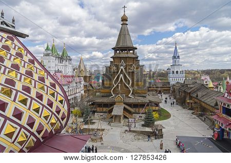 Moscow, Russia - April 23, 2016: Church of St. Nicholas in Kremlin in Izmailovo Moscow Russia. The new church built in the traditions of Russian wooden architecture.