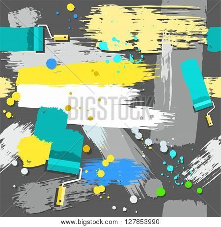 Yellow, gray, blue and green spots and stripes on a dark gray background. Traces of paint roller and brushes, blots and drops. Vector seamless background. Color, flat.