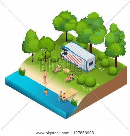 RV camper in camping, family vacation travel, holiday trip in motorhome  Flat 3d vector isometric illustration