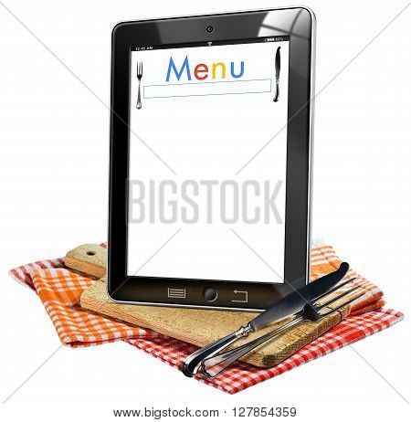 Illustration of a tablet computer with text Menu in the screen on a wooden cutting board checkered tablecloth and silver cutlery. Isolated on white background