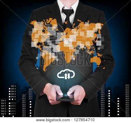 Businessman With Modern Mobile Phone Download And Upload To Cloud Data In His Hand