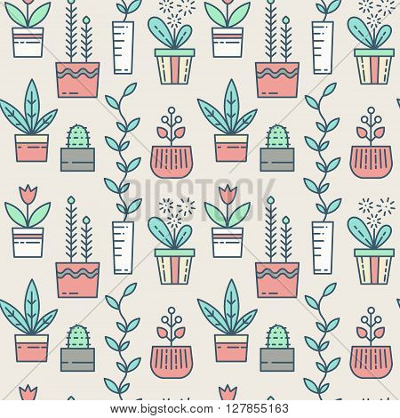 Line houseplants icons seamless pattern. Vector flowers in pots