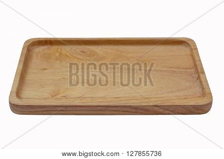 Close Up Empty Wooden Dish Isolated On White Background,with Clipping Path