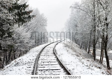 Railway In Snow