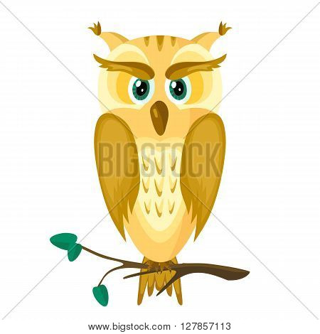 Cute owl with green eyes on a tree branch. Yellow-orange-brown cartoon owl.Vector illustration.Isolated abstract image of a bird.