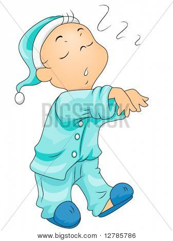 Boy Sleepwalking - Vector